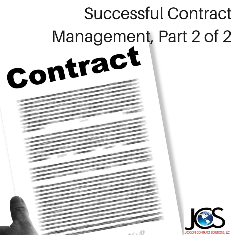 Successful Contract Management – Part 2 of 2